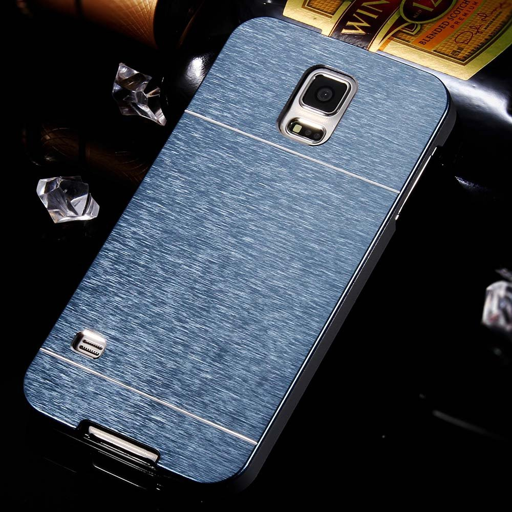 S5 Aluminum Deluxe Gold Metal Brush Back Case For Samsung Galaxy S 32237608035-5-navy
