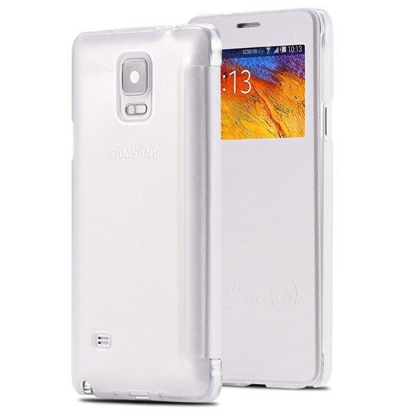 For Note 4 Free Answer Smart Case Pu Leather Window View Cover For 32236274626-3-white