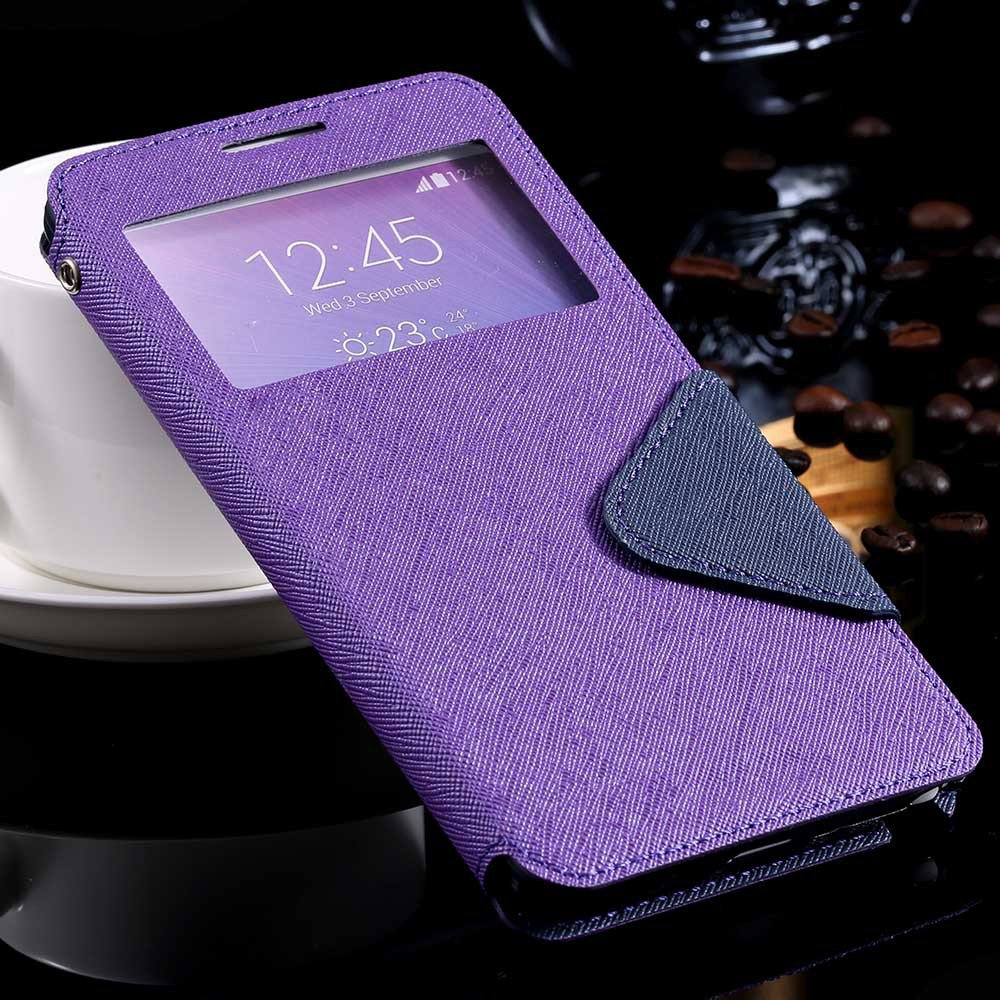 For Note 4 Window Case View Display Flip Cover For Samsung Galaxy  32261101628-6-purple