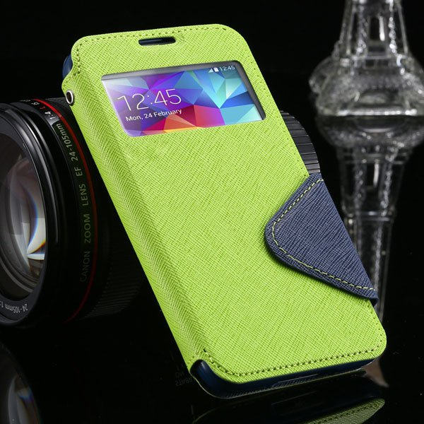 S5 Full Case For Samsung Galaxy S5 Sv I9600 Flip View Screen Leath 1877345880-4-green