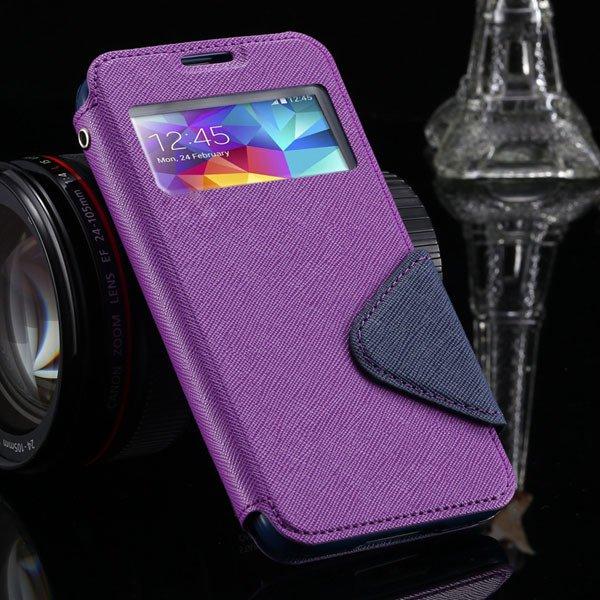 S5 Full Case For Samsung Galaxy S5 Sv I9600 Flip View Screen Leath 1877345880-5-purple