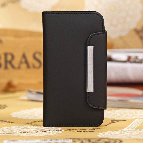 New High Quality Leather Flip Case For Samsung Galaxy S4 Mini I919 1329066476-1-Black