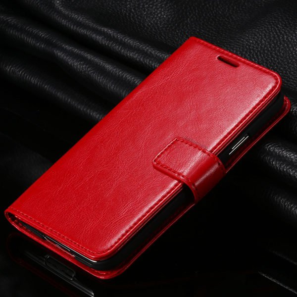 S5 Pu Leather Case For Samsung Galaxy S5 Sv I9600 Folio Flip Cover 1823146791-3-red