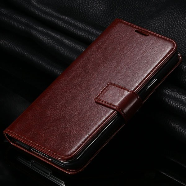 S5 Pu Leather Case For Samsung Galaxy S5 Sv I9600 Folio Flip Cover 1823146791-5-brown