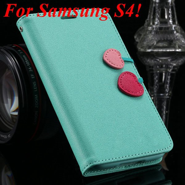 S5 S4 Cute Wallet Book Case Flip With Heart Shape Magnetic Buckle  1878960233-3-mint green for S4
