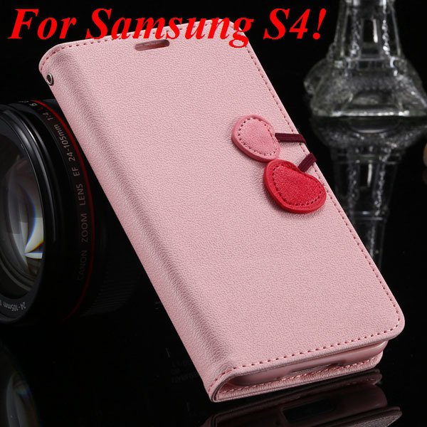 S5 S4 Cute Wallet Book Case Flip With Heart Shape Magnetic Buckle  1878960233-4-pink for S4