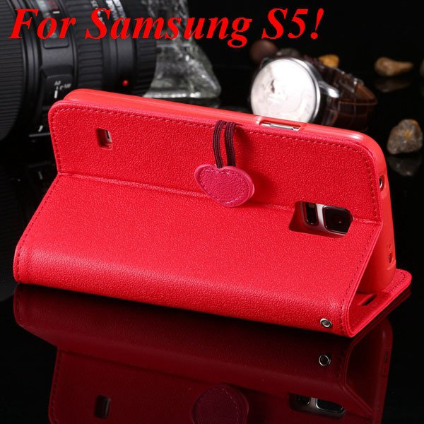 S5 S4 Cute Wallet Book Case Flip With Heart Shape Magnetic Buckle  1878960233-9-red for S5