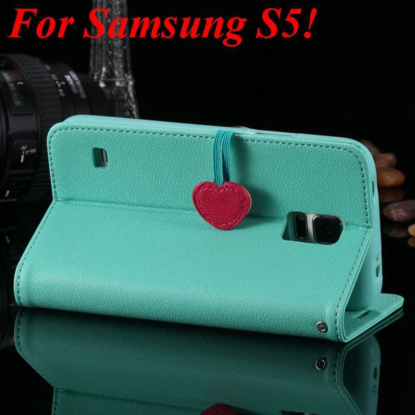 S5 S4 Cute Wallet Book Case Flip With Heart Shape Magnetic Buckle  1878960233-11-mint green for S5