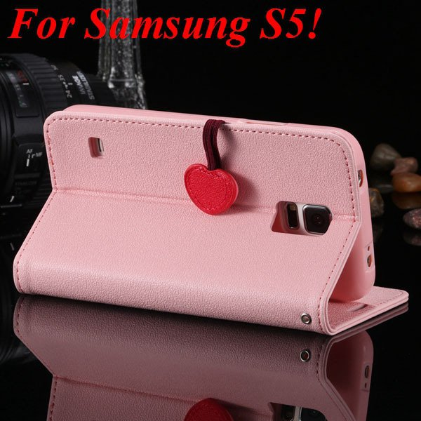 S5 S4 Cute Wallet Book Case Flip With Heart Shape Magnetic Buckle  1878960233-12-pink for S5