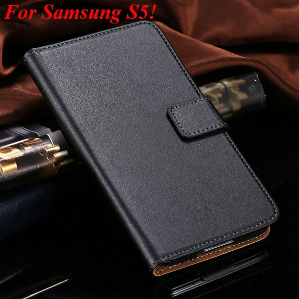 S4 S5 Flip Genuine Leather Case For Samsung Galaxy S5 I9600 For Ga 1820394140-9-black for S5