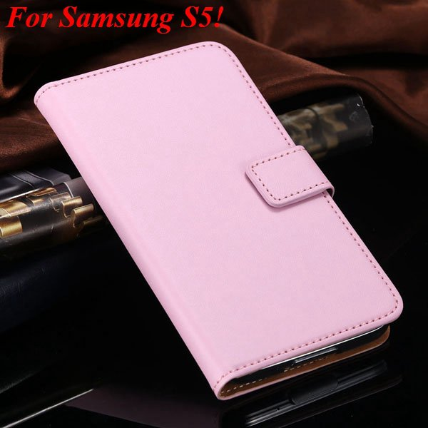 S4 S5 Flip Genuine Leather Case For Samsung Galaxy S5 I9600 For Ga 1820394140-13-pink for S5