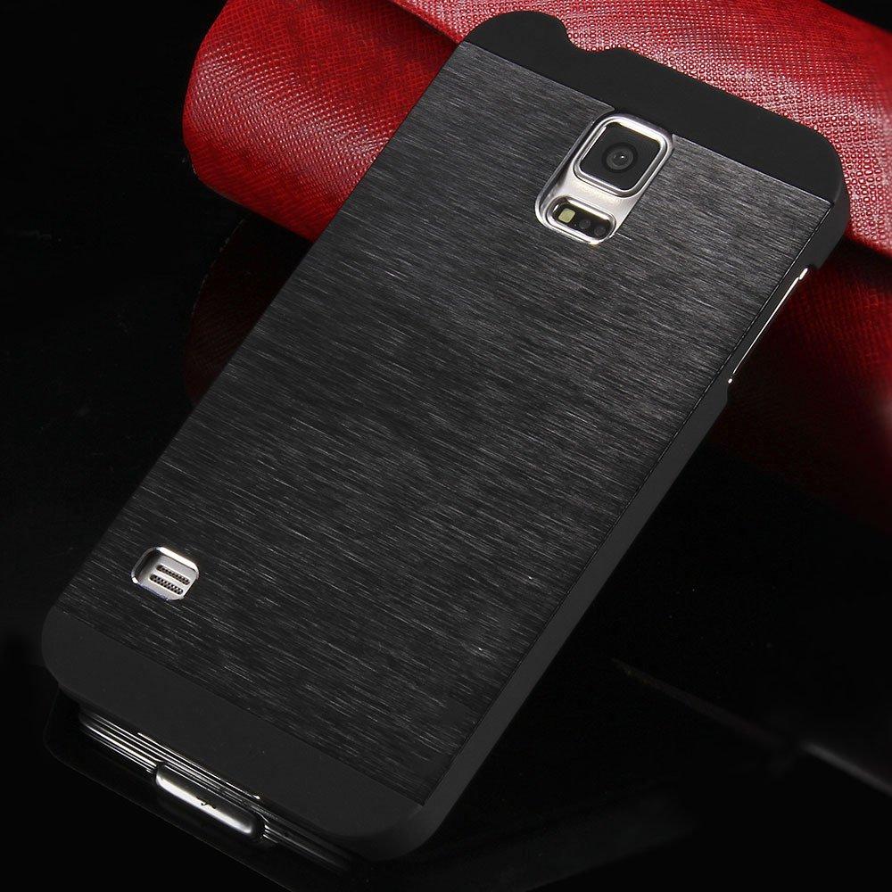 S5 Luxury Aluminum Case Shiny Metal Brush Back Cover For Samsung G 32251264022-1-black