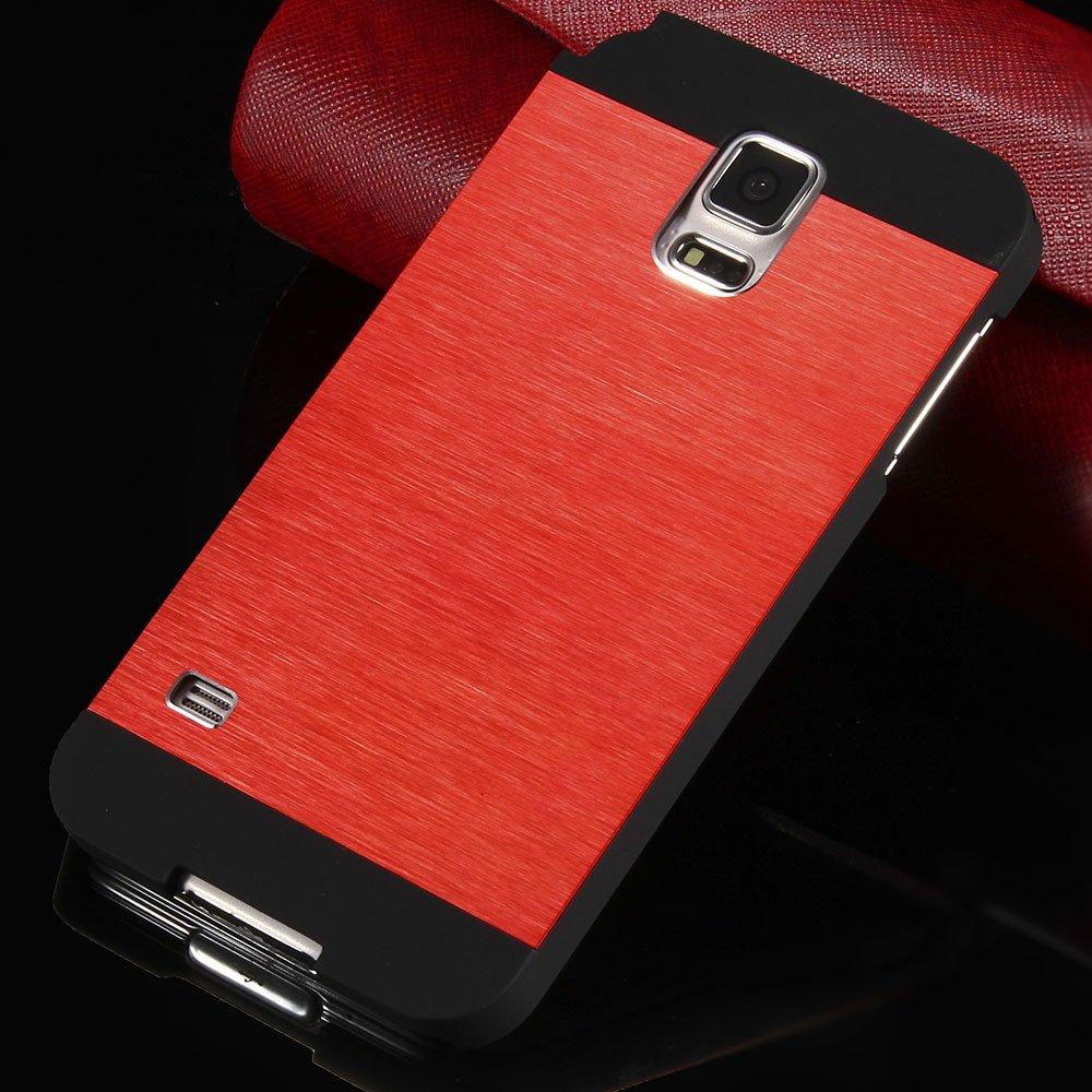 S5 Luxury Aluminum Case Shiny Metal Brush Back Cover For Samsung G 32251264022-2-red