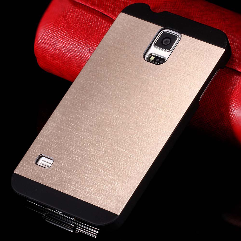 S5 Luxury Aluminum Case Shiny Metal Brush Back Cover For Samsung G 32251264022-5-gold