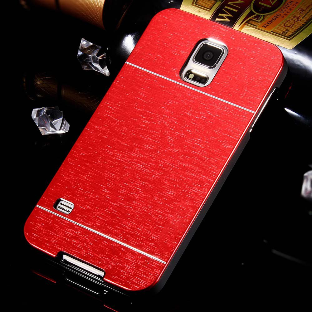 S5 Luxury Aluminum Case Gold Metal Brush Cover For Samsung Galaxy  32237477532-2-red