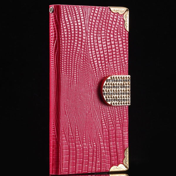 Luxury Bling Diamond Wallet Cover For Samsung Galaxy S5 I9600 Leat 32245544433-5-hot pink