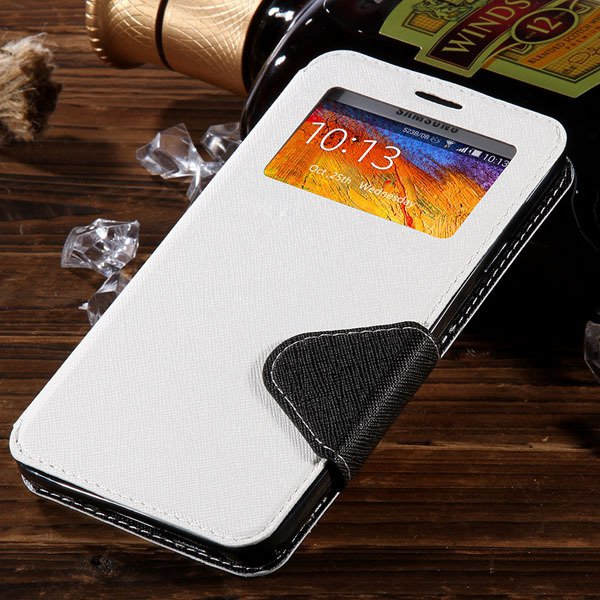 For Note 3 Window Case Full Protect Cover For Samsung Galaxy Note  1961130524-2-white