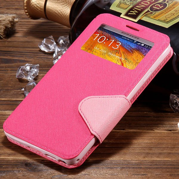 For Note 3 Window Case Full Protect Cover For Samsung Galaxy Note  1961130524-6-hot pink