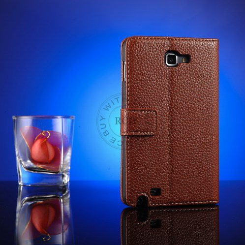 Top Quality Pu Leather Case For Samsung Galaxy Note I9220 N7000 St 1063977847-2-Brown