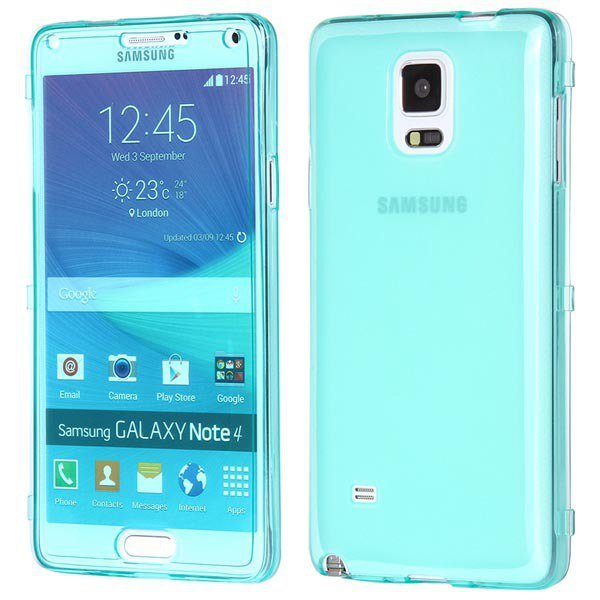 Newest Flip Open Full Clear Cover For Samsung Galaxy Note 4 Iv N91 32247651581-4-light blue