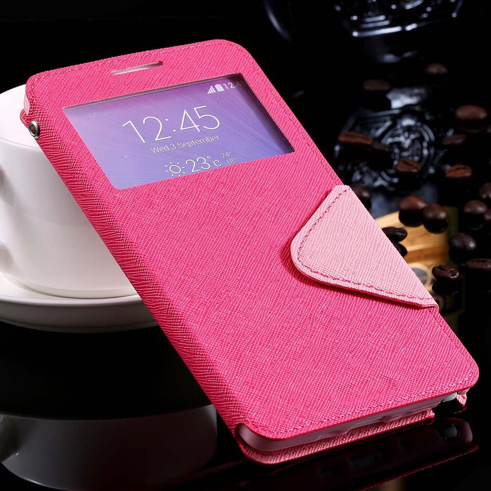 For Note 4 View Case Window Display Show Cover For Samsung Galaxy  32260910872-5-hot pink