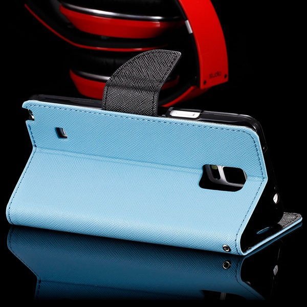 For Note 4 Flip Wallet Cover For Samsung Galaxy Note 4 N9100 Full  32260100946-4-sky blue