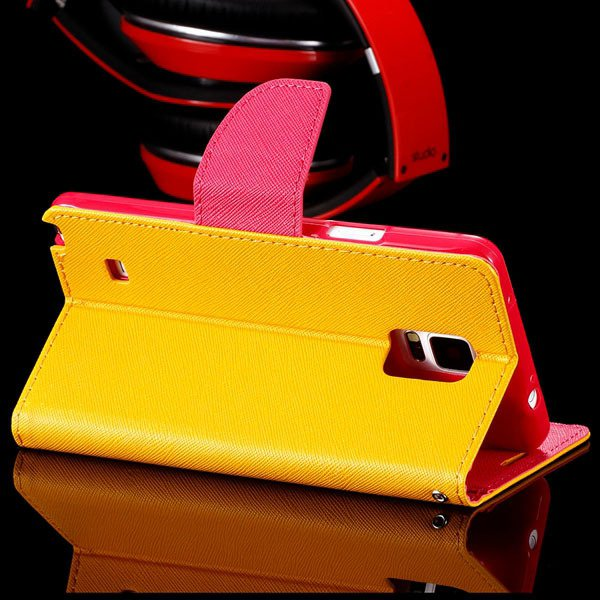 For Note 4 Flip Wallet Cover For Samsung Galaxy Note 4 N9100 Full  32260100946-7-yellow