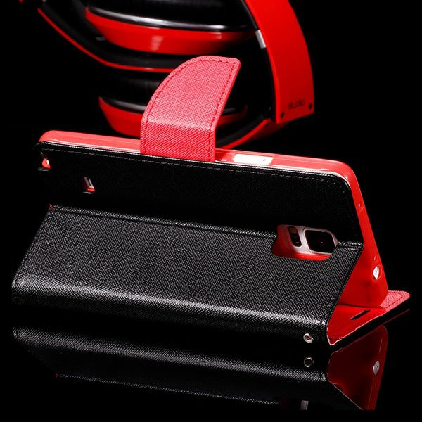 For Note 4 Flip Wallet Cover For Samsung Galaxy Note 4 N9100 Full  32260100946-10-black red