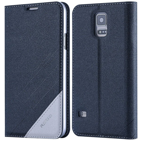 S5 Pu Leather Case Original Flip Cover For Samsung Galaxy S5 Sv I9 32267055276-6-gray