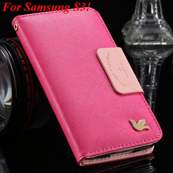 2 Models For Samsung Series Leather Case For Galaxy S5 S3 Fly Bird 1879668475-1-hot pink for S3