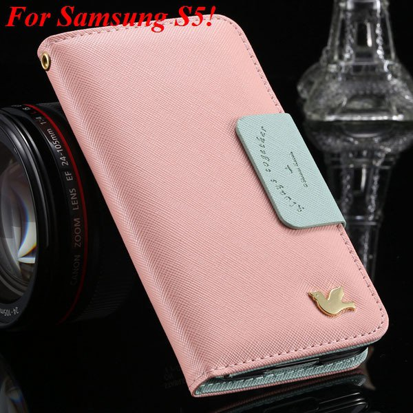 2 Models For Samsung Series Leather Case For Galaxy S5 S3 Fly Bird 1879668475-8-pink for S5