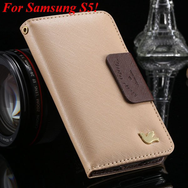 2 Models For Samsung Series Leather Case For Galaxy S5 S3 Fly Bird 1879668475-11-khaki for S5