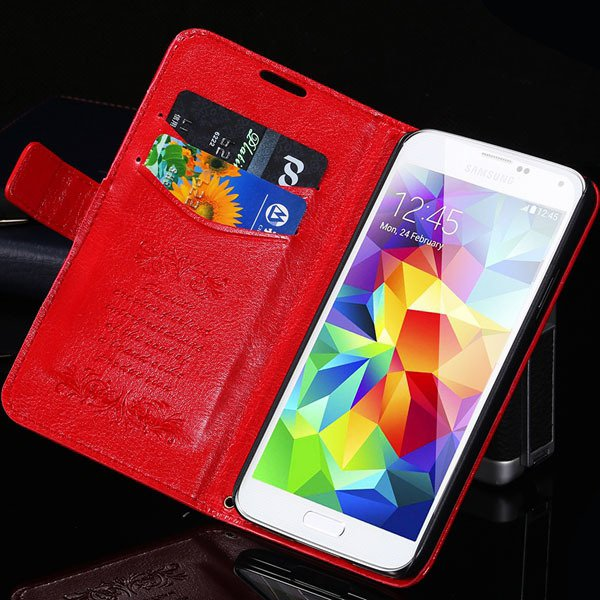 S5 Pu Leather Case With Card Slot Full Protect Cover For Samsung G 32262936634-3-red