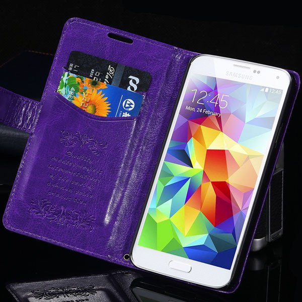 S5 Pu Leather Case With Card Slot Full Protect Cover For Samsung G 32262936634-5-purple