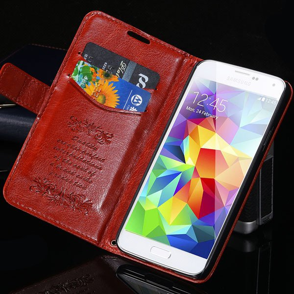 S5 Pu Leather Case With Card Slot Full Protect Cover For Samsung G 32262936634-7-brown