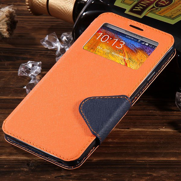 For Note 3 View Case Flip Cell Phone Cover For Samsung Galaxy Note 1961185459-9-orange