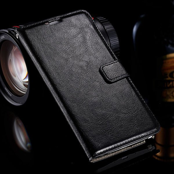Note 4 Luxury Pu Leather Case Flip Wallet Cover For Samsung Galaxy 32283665438-1-black