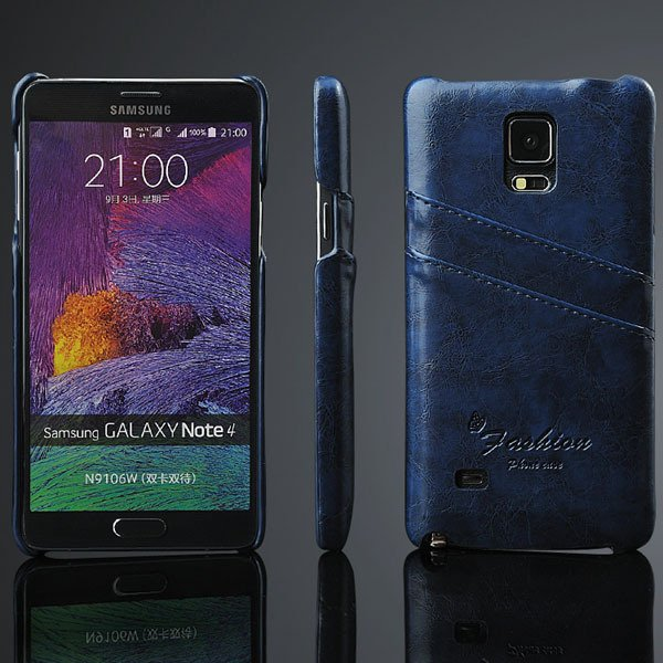 Note 4 Card Slot Back Case For Samsung Galaxy Note 4 Iv N9100 Retr 32281375945-3-blue