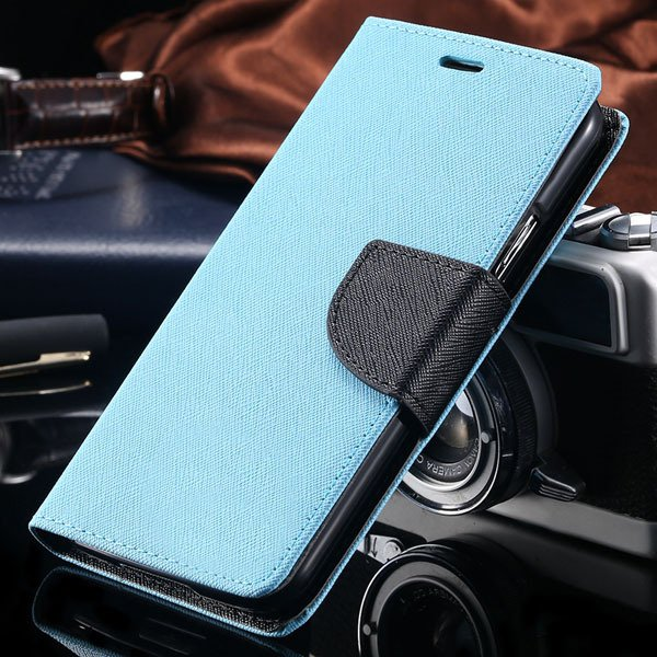 S6 Leather Case Double Color Full Protect Cover For Samsung Galaxy 32302336226-5-sky blue