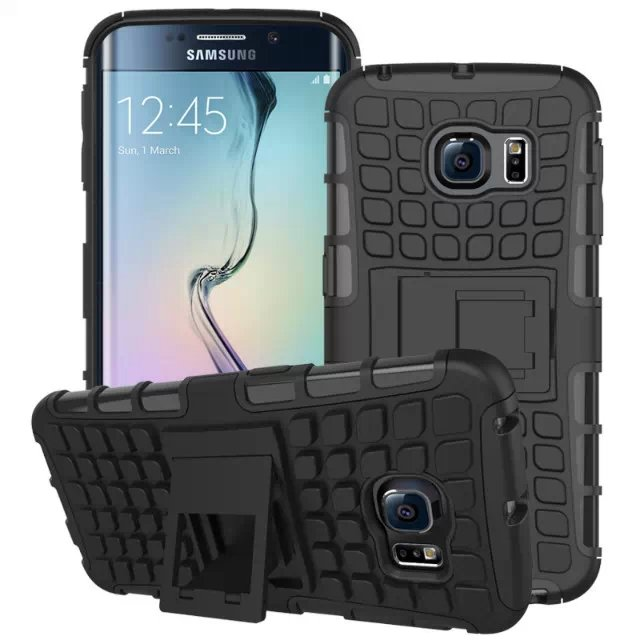 S6 Edge Hybrid Kickstand Case Perfect Fit Armor Cover For Samsung  32297145450-1-black