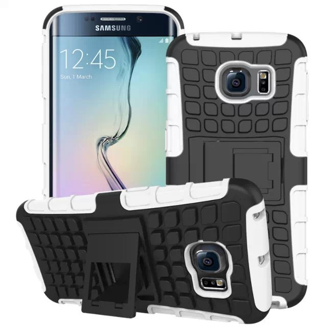 S6 Edge Hybrid Kickstand Case Perfect Fit Armor Cover For Samsung  32297145450-2-white