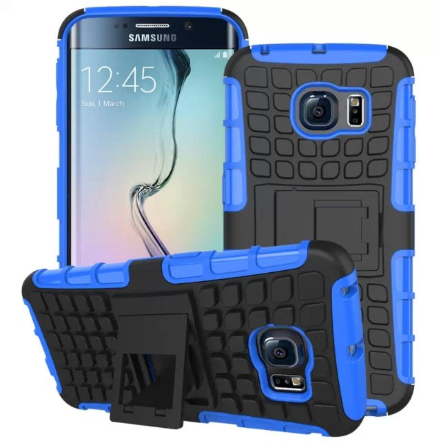 S6 Edge Hybrid Kickstand Case Perfect Fit Armor Cover For Samsung  32297145450-3-blue