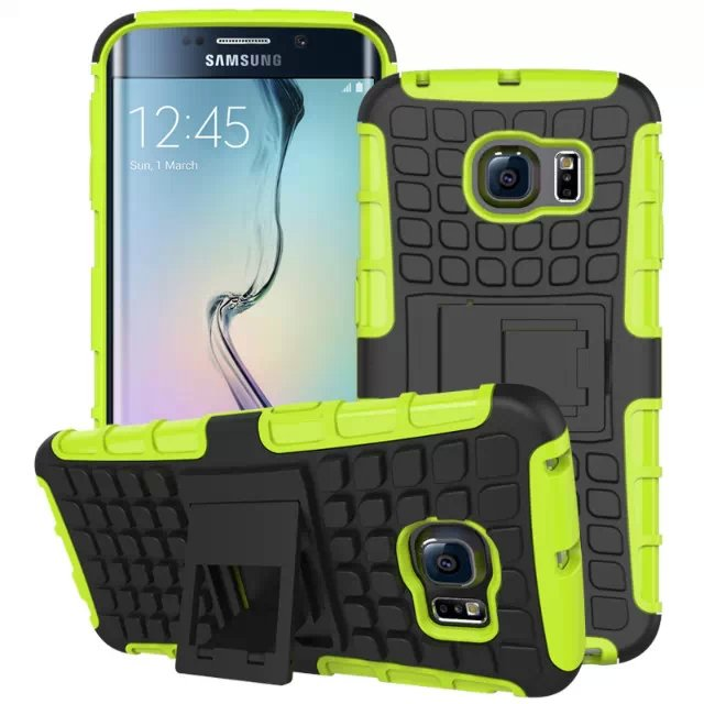 S6 Edge Hybrid Kickstand Case Perfect Fit Armor Cover For Samsung  32297145450-5-green