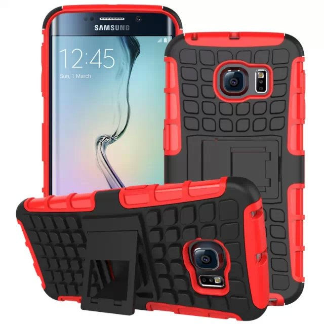 S6 Edge Hybrid Kickstand Case Perfect Fit Armor Cover For Samsung  32297145450-6-red