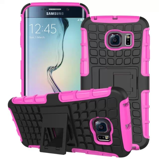 S6 Edge Hybrid Kickstand Case Perfect Fit Armor Cover For Samsung  32297145450-8-rose
