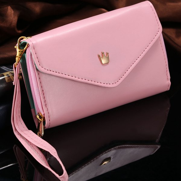 General Use Pouch Wallet Pu Leather Case For Iphone 5S, 4S, 6 4.7I 1035908080-2-pink