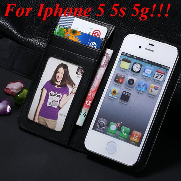 4S 5S Luxury Pu Leather Case Photo Frame Flip Cover For Iphone 5 5 1330267603-1-black for 5s