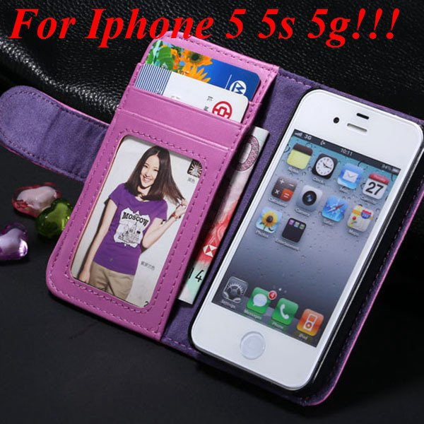4S 5S Luxury Pu Leather Case Photo Frame Flip Cover For Iphone 5 5 1330267603-2-purple for 5s