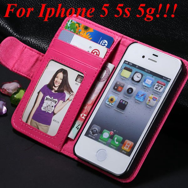 4S 5S Luxury Pu Leather Case Photo Frame Flip Cover For Iphone 5 5 1330267603-4-hot pink for 5s