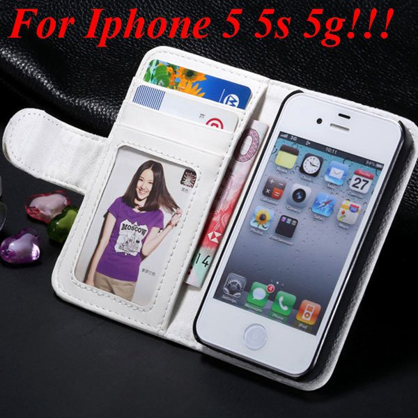 4S 5S Luxury Pu Leather Case Photo Frame Flip Cover For Iphone 5 5 1330267603-5-white for 5s